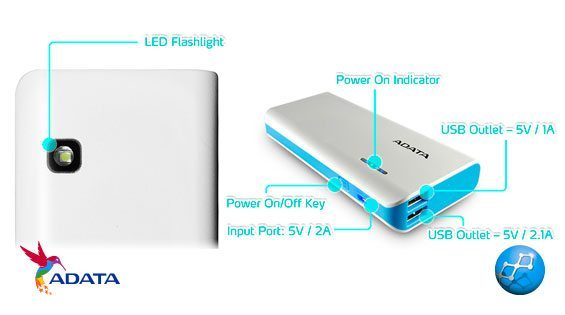 Power Bank 10000 mAh Adata PT100 capacidad carga