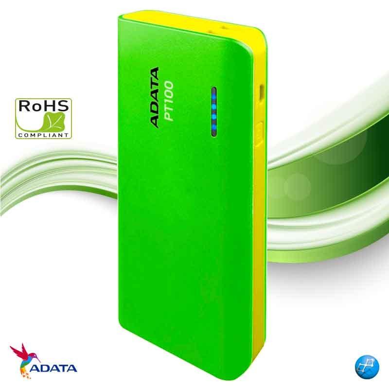 Power Bank 10000 mAh Adata PT100 verde